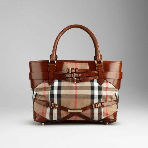 Burberry Medium Bridle House Check Tote Bag Dark Tan  227.00 Save  80% off 0659b0df9d61f