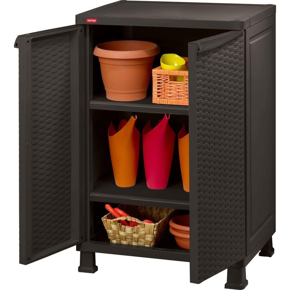 Keter 26 In X 39 In Freestanding Plastic Rattan Base Cabinet 215659 The Home Depot In 2020 Outdoor Storage Cabinet Wooden Storage Cabinet Utility Storage Cabinet