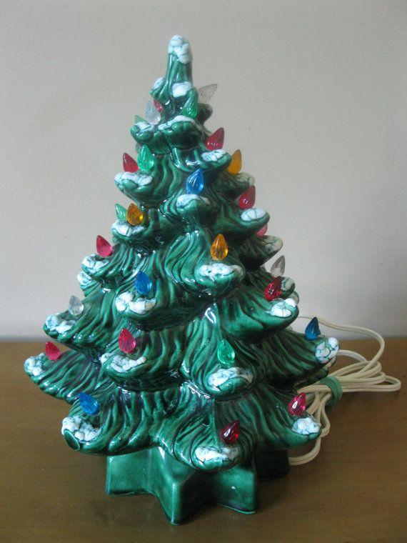 Vintage 13 Ceramic Lighted Christmas Tree 1970s By Oakiesclaptrap 29 99 Ceramic Light Ceramic Christmas Trees Christmas Tree Lighting