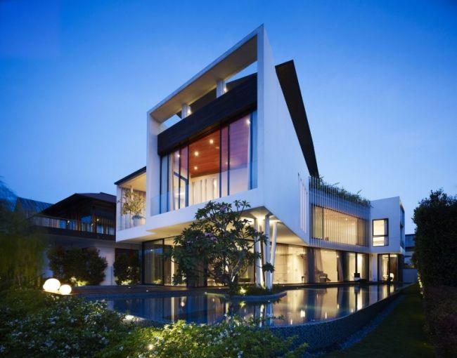 Maison contemporaine conçue par Aamer Architects Architects and - facade de maison contemporaine