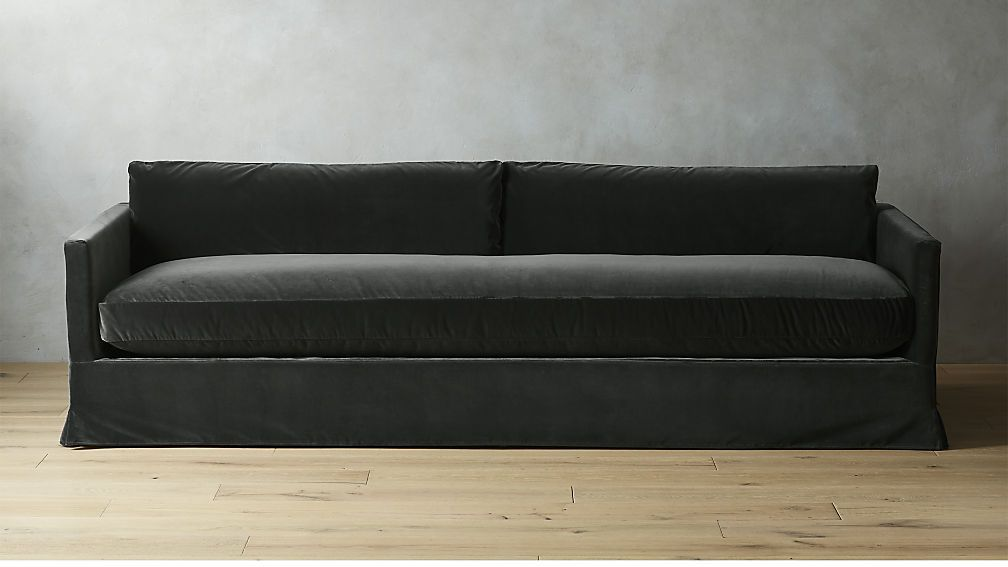Delphine Dark Grey Velvet Slipcover Sofa | | Slipcovers ...
