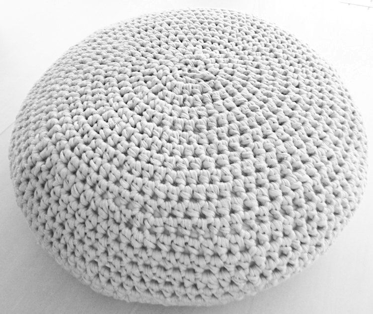 White Pouf Ottoman Large Crochet Pouf Ottoman Floor Cushion Pdf Pattern  Instant