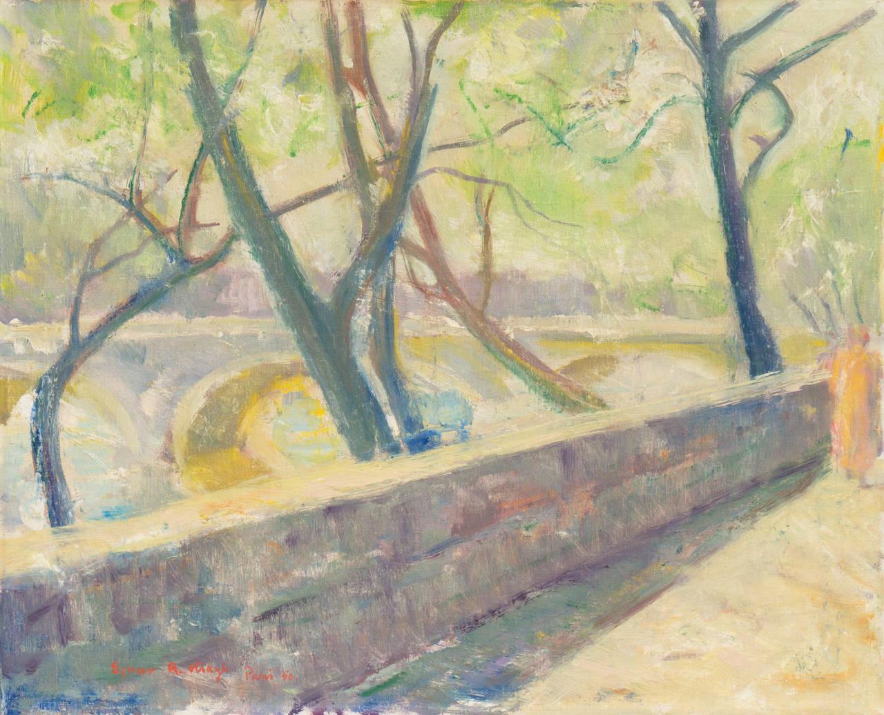 Ejnar R Kragh Landscape Painting The Pont Neuf Paris 1950 Post Impressionist Landscape Paintings Post Impressionists Painting