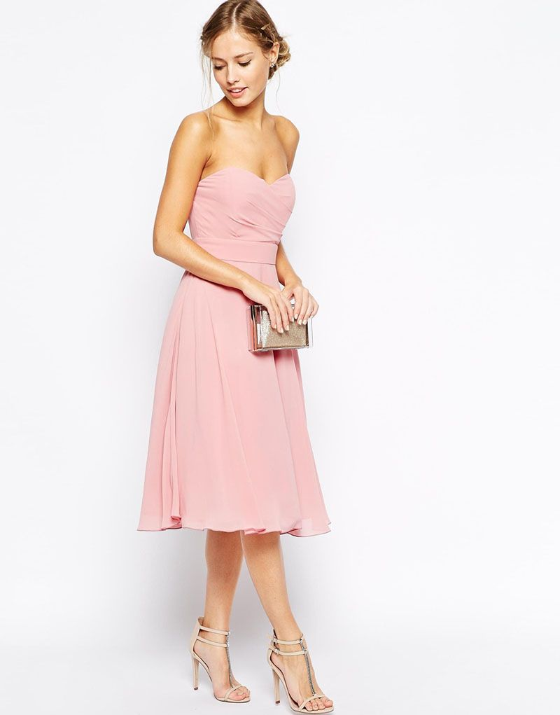 Tea Length Strapless Sweetheart Pleated Light Pink A-line Bridesmaid ...