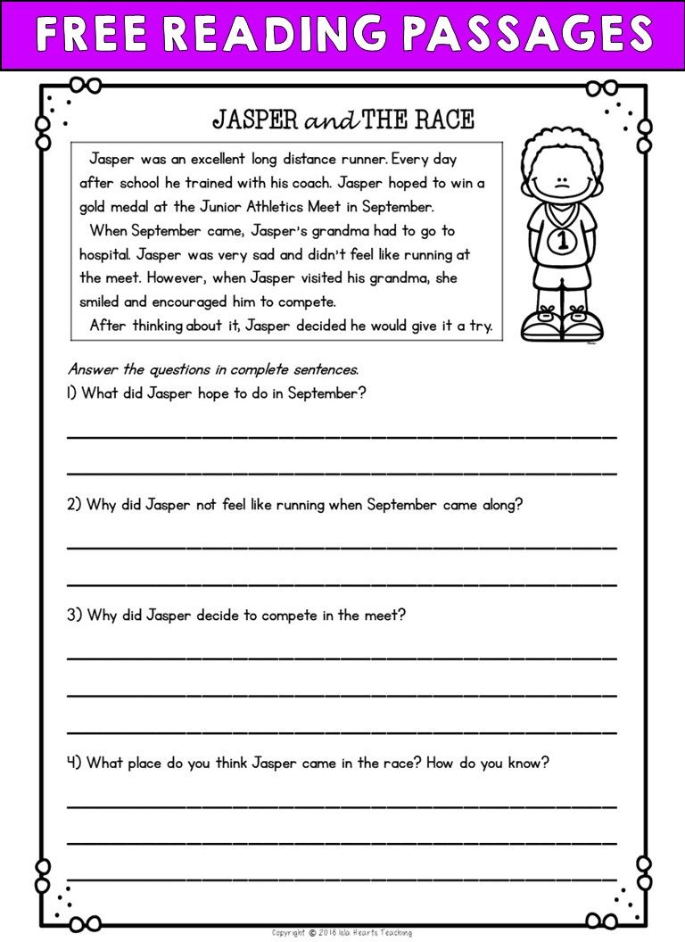 medium resolution of Second Grade Reading Comprehension Passages and Questions (FREE SAMPLE)    Reading worksheets