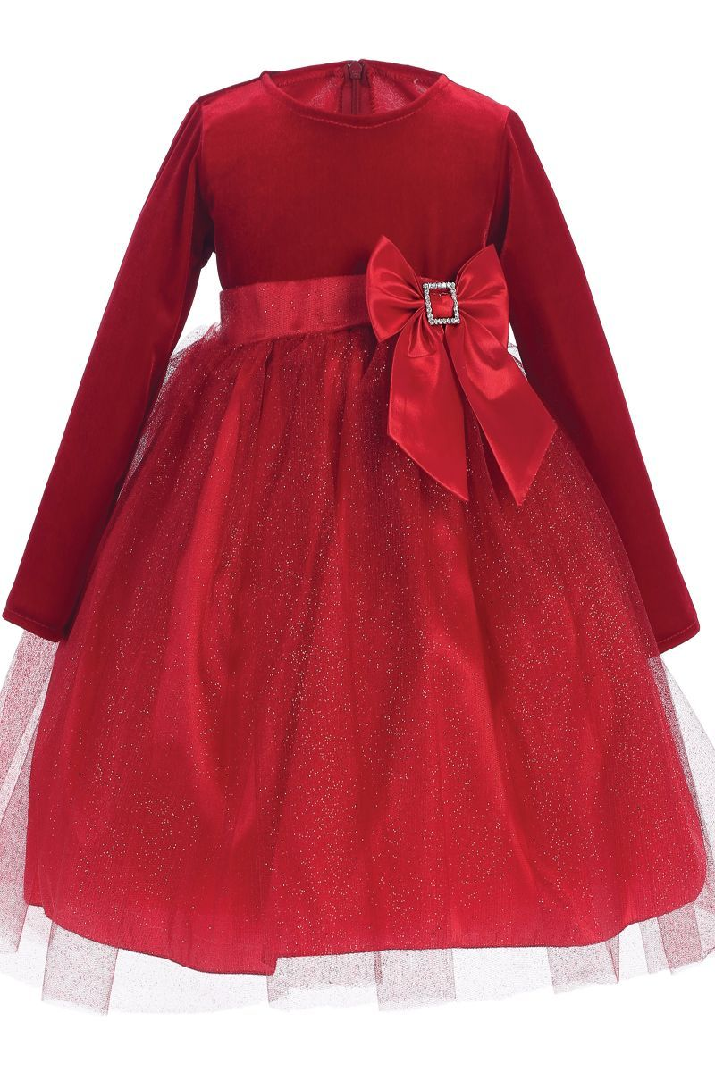 24e1d57ceae Red Stretch Velvet   Glitter Tulle Girls Christmas Holiday Dress (Girls 6  Months - Size 10)