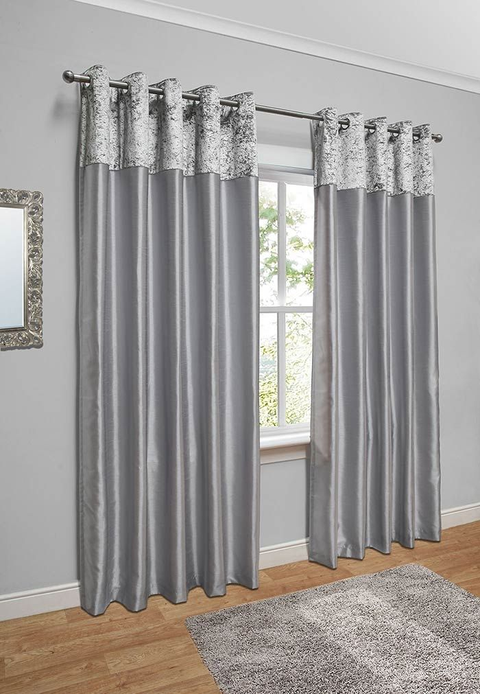Pair Of Chloe Crushed Velvet Band Fully Lined Curtains | Living room ...