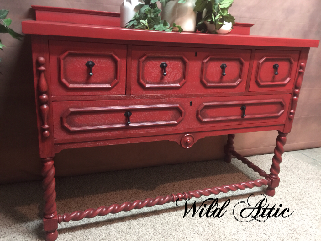 How to paint a vintage buffet home stories a to z - Antique Buffet Made By Northern Furniture Company Chalk Painted Awning Red By Behr With A