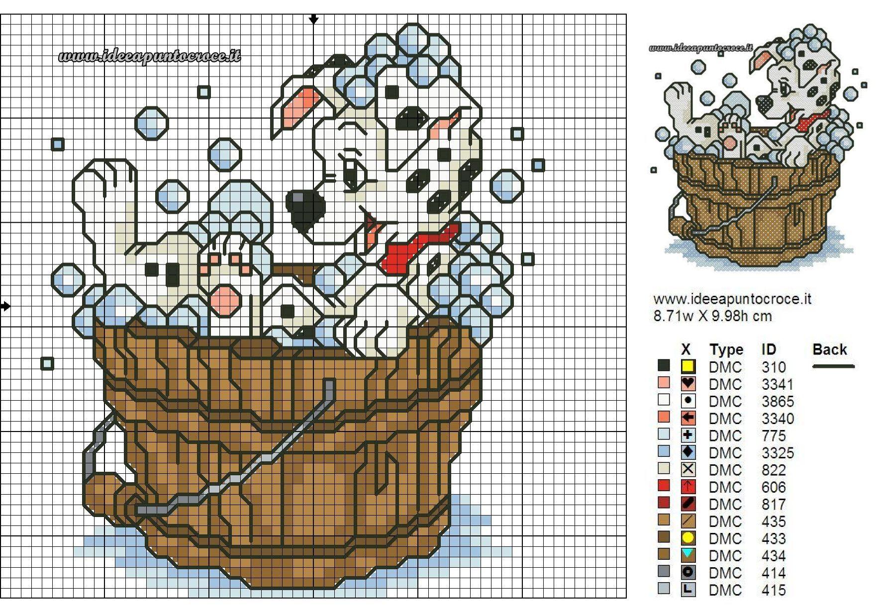 Dalmata bagnetto schema punto croce cross stitch pinterest for Punto croce bagnetto