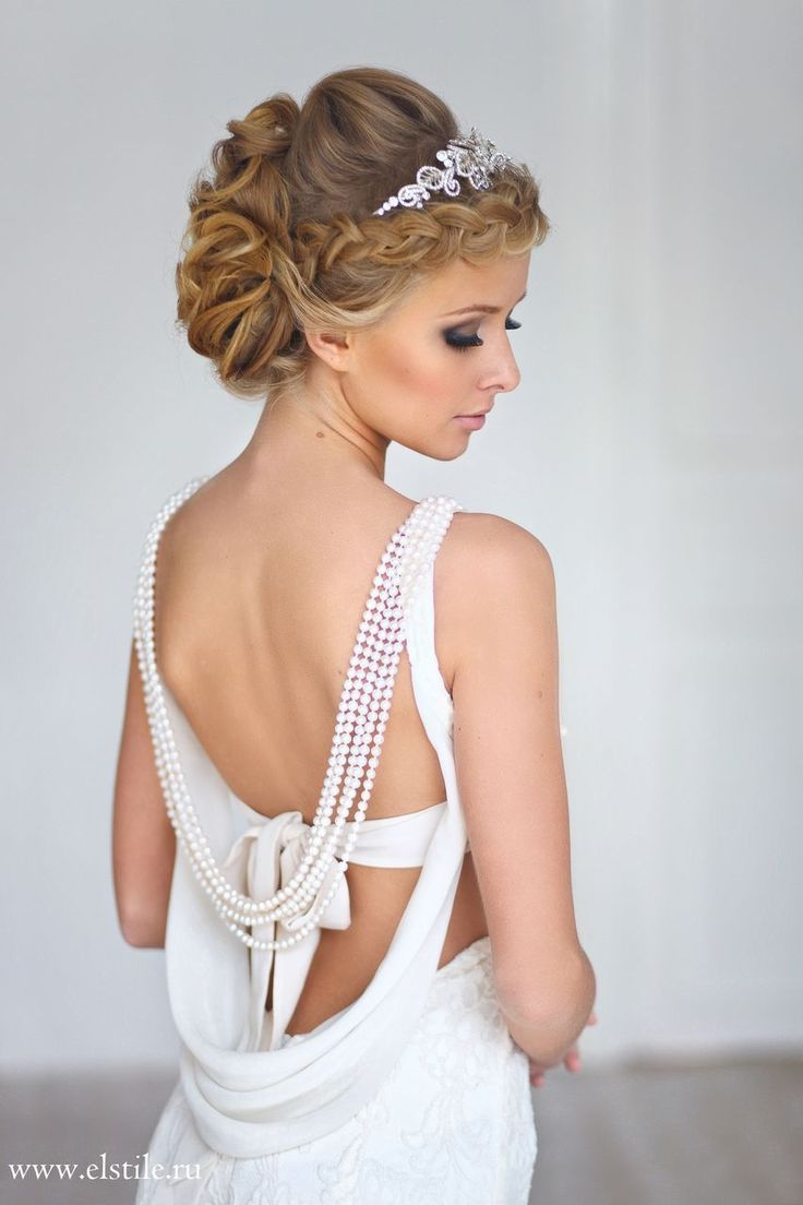 wedding hairstyle with sleek curl updo, tiara & neutral make-up