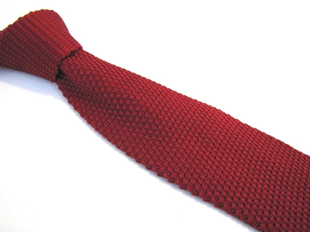 Brooks Brothers Tie 3 Quot Square Tip Silk Waffle Knit Ruby Cherry Red Italian Brooksbrothers Tie