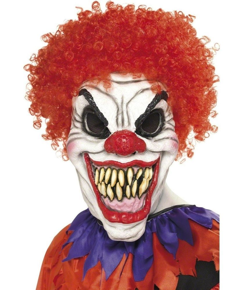 Scary Halloween Latex Clown Mask with Red Hair Fancy Dress ...