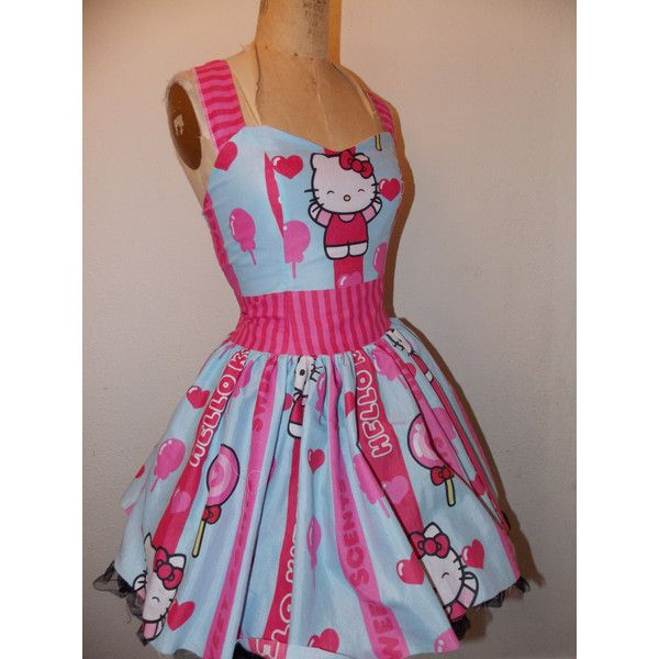 Striped Hello Kitty Lollipop Candy Custom Made to Order Sweet Heart... ($145) ❤ liked on Polyvore featuring dresses, ruched dress, pinup dress, halter dress, short halter dress and short ruffle dress