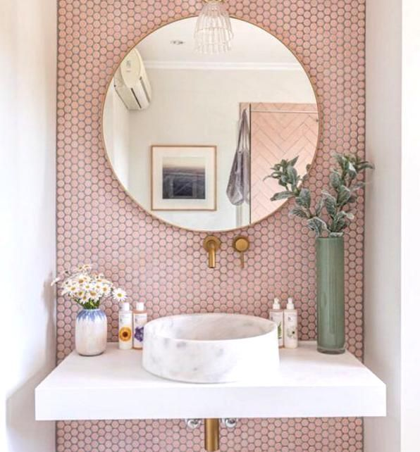 Feminine Bathroom Design Pink Accent Wall Marble Sink Brass Hardware Floating Vanity In 2020 Feminine Bathroom Pink Accent Walls Bathroom Design