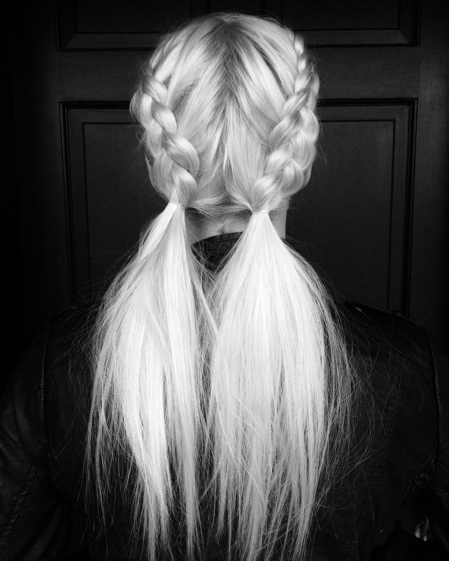 messy pigtail pony braids beauty
