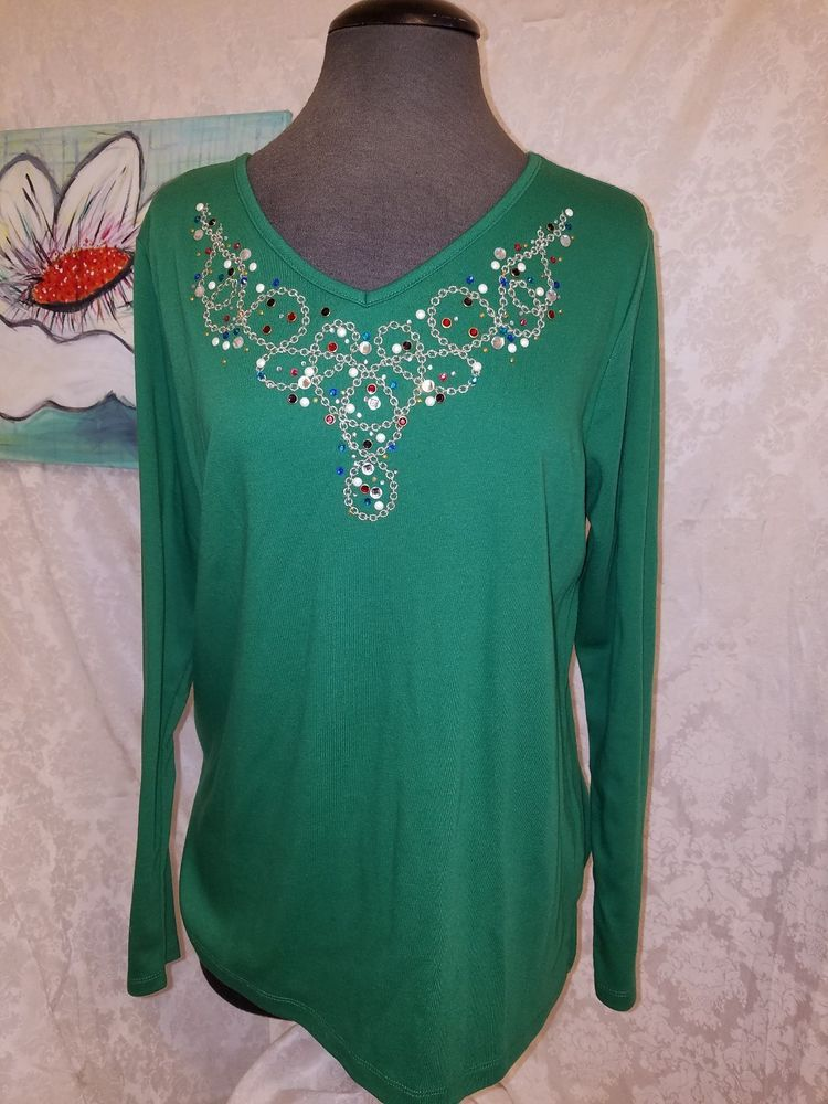 Quacker Factory Womens Blouse Green Jeweled V-Neck Long