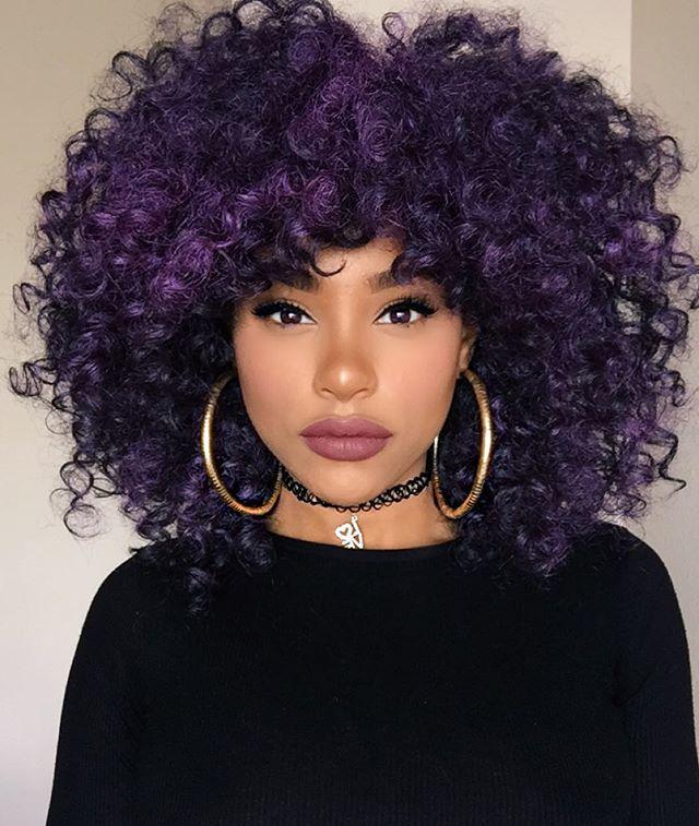 Purple 4b 4c Curly Hair Natural Hair Styles Purple Natural Hair