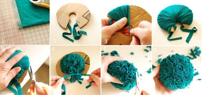 Création tissu facile- 30 idées d'accessoires ou décorations pour la maison | Pompons en tissu ...