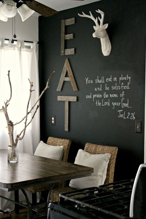 41 Sensational interiors showcasing black painted walls   Rustikales     interior  home decor  decorating ideas  interior design  black walls   dining room inspiration  chalk boards