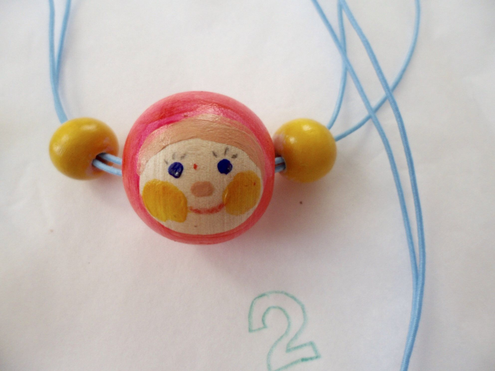 Doll face_painted necklace_wooden beads #dollfacepainting
