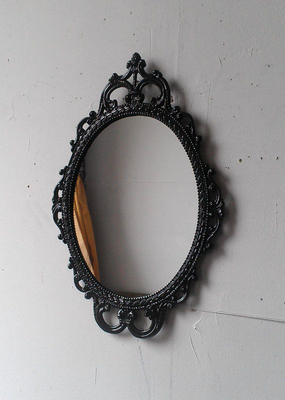 Ornate Oval Mirror In Vintage Metal Frame 17 X 12 Inch Handpainted Br Jet Black