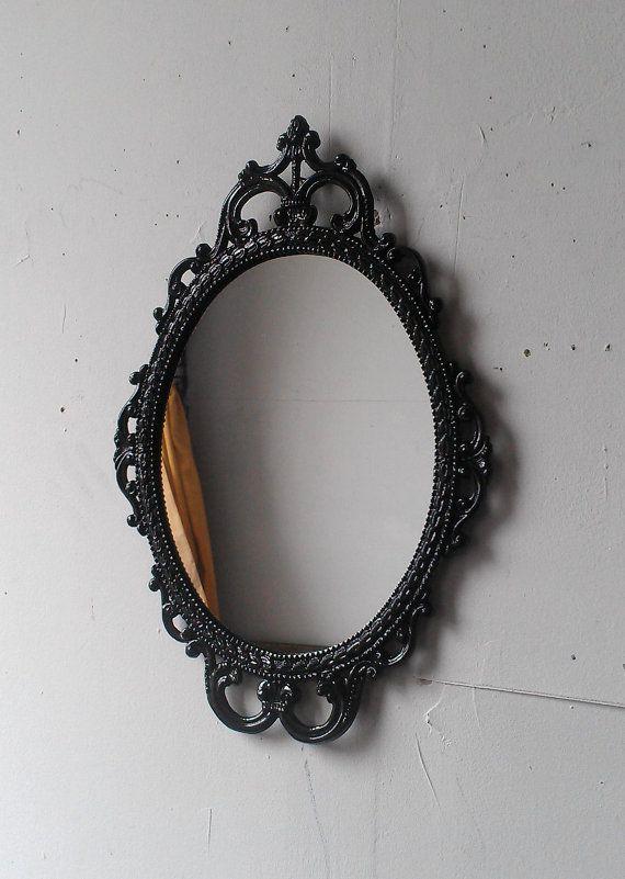 Black Oval Wall Mirror In Vintage Ornate Brass Frame Decorative