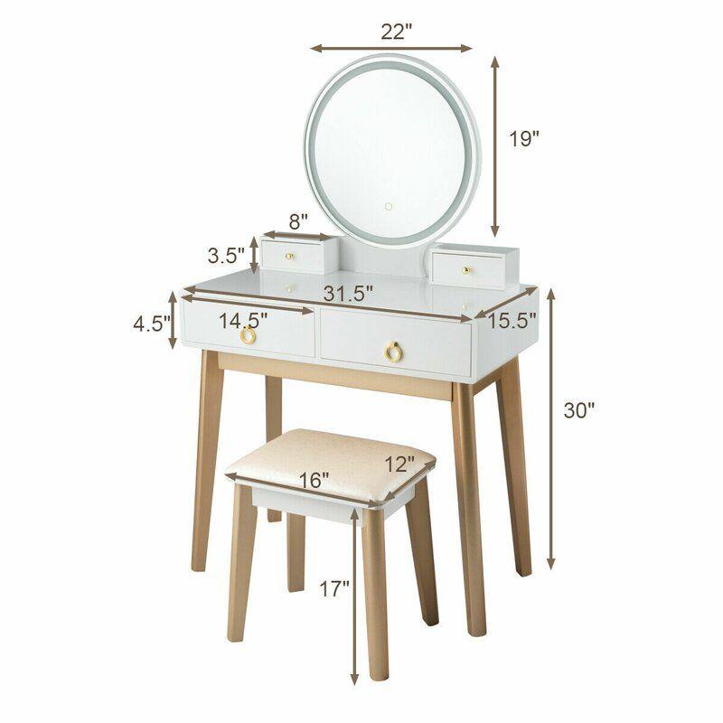 Nicol Vanity Set With Stool And Mirror Vanity Table Set Makeup Table Vanity Vanity Table