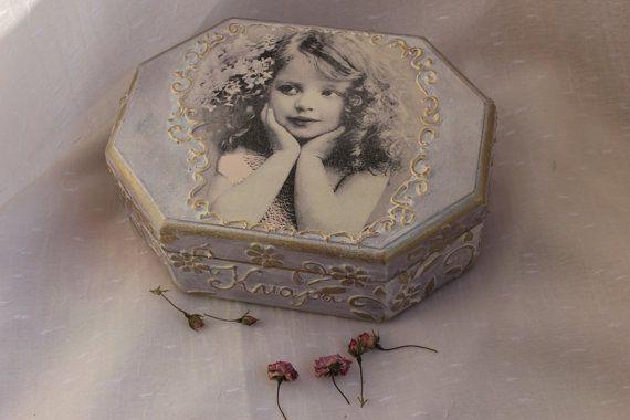 jewelry box wooden box decoupage boxlittle by BellesAmiesDecor