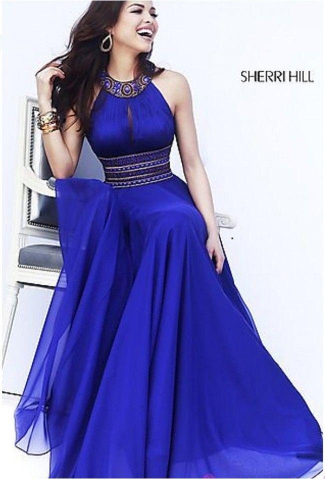 High neck sleeveless beading chiffon dress | vestidos de gala ...