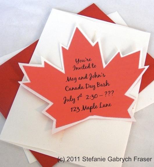 Canada Day Leaf Invitation Via Stefanie Gabrych Fraser
