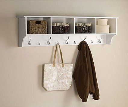 amazon com white 5 ft entry hall shelf with 4 cubby and 9 hook rh pinterest com coat hook shelf for hall