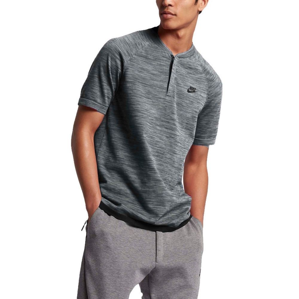 eaad5729 Nike Sportswear Tech Knit Men's Polo Shirt NEW 846409 091 Gray/Black Size  Large #Nike #ShirtsTops