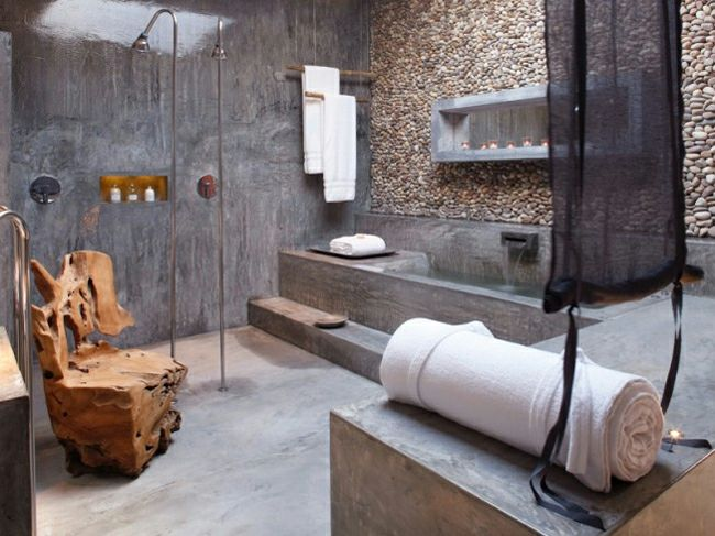 Badezimmer Steinwand Granitmöbel Holz Stuhl Design Idee Putzwand - badezimmer steinwand