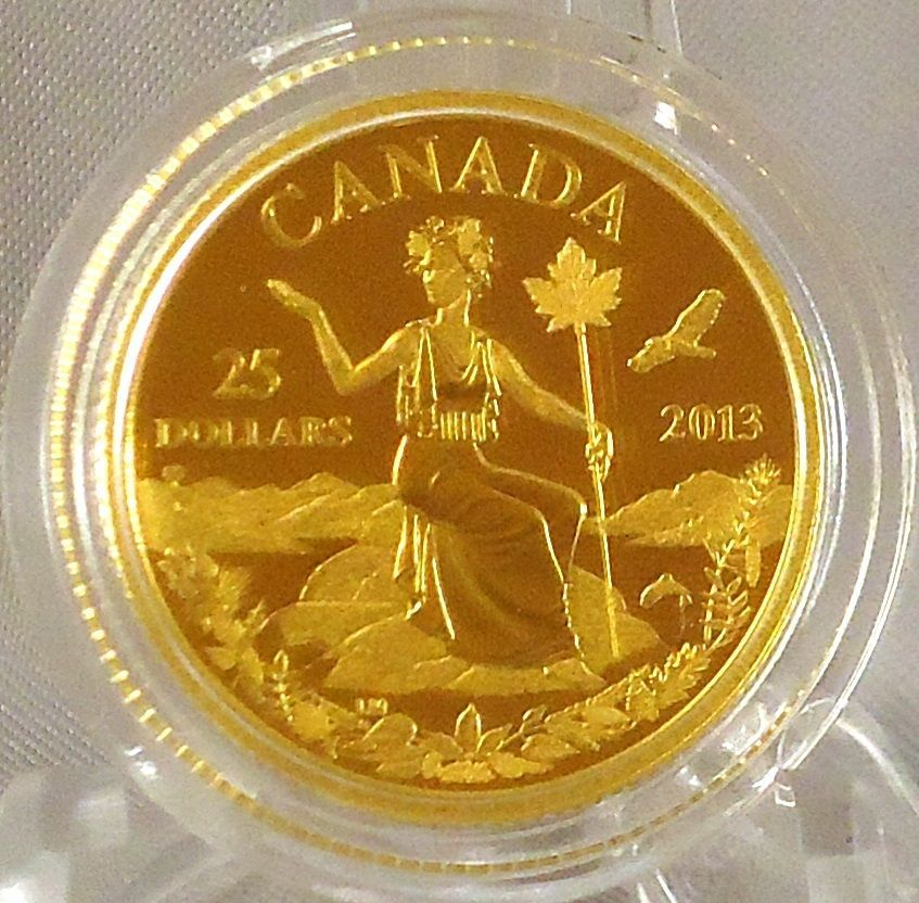 2013 25 Canada An Allegory 1 4 Oz Pure Gold Coin Iconic Miss Canada Gold Coins Coins Mint Coins