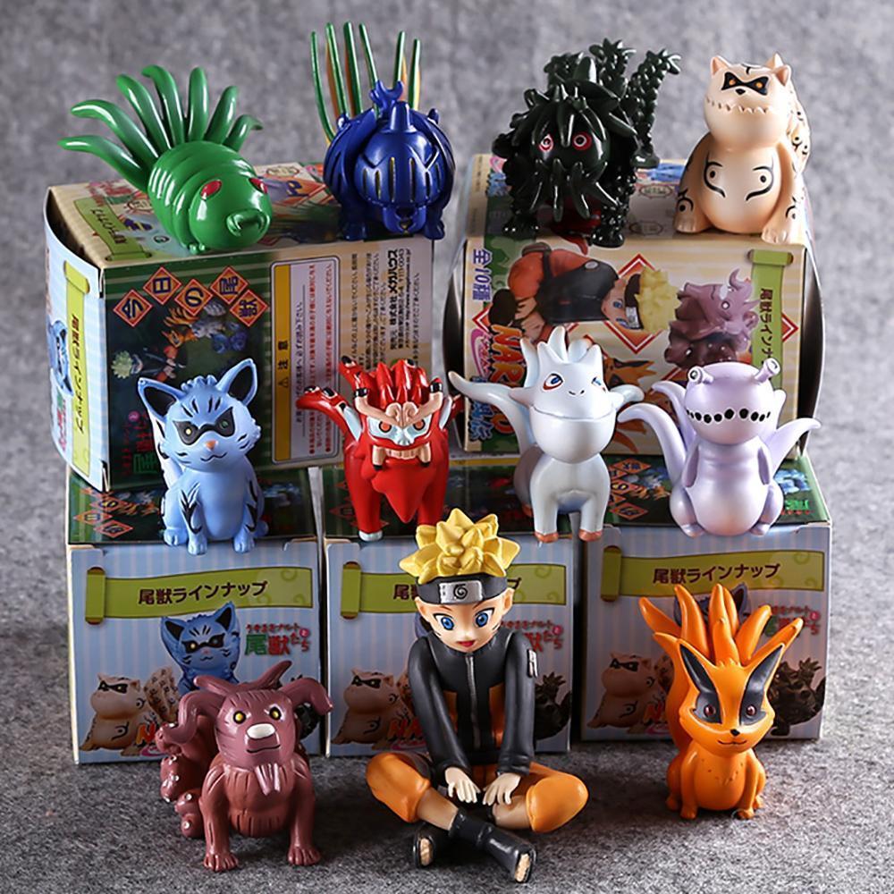 10pcs Set Naruto Naruto And Bijuu Kurama Utakata Figure Statue Toy