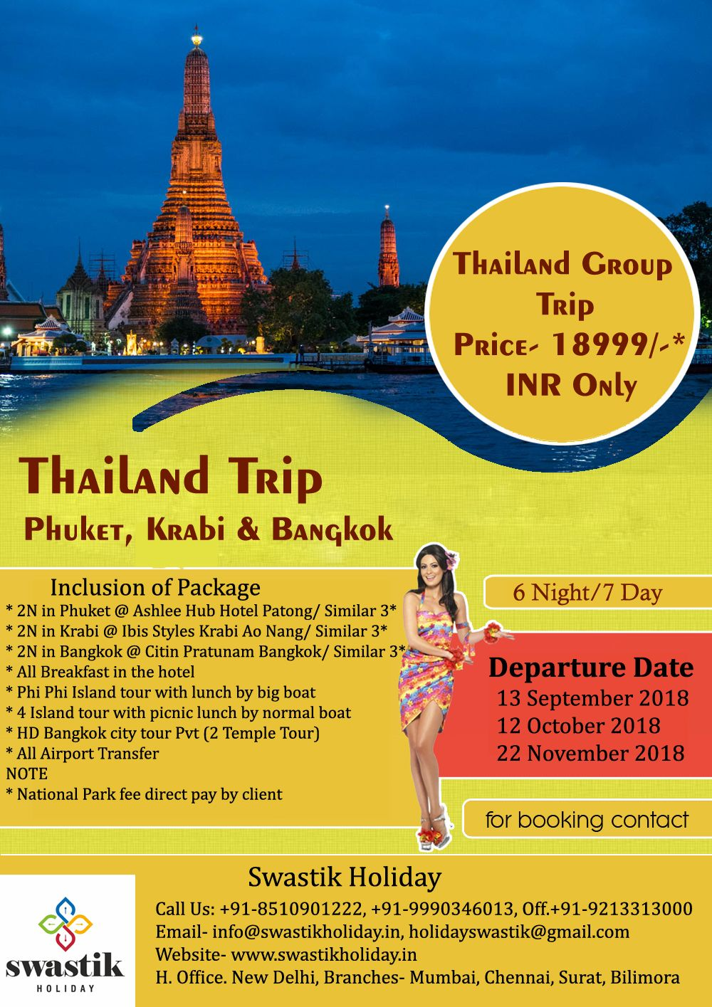 Thailand Group Trip Destination Phuket Krabi And Bangkok Cost Of Package 18999 Inr Only For Booking Contact Tour Packages Thailand Tours Bangkok Travel