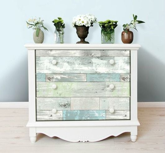 Makeover A Dresser / Drawers With Rustic Wood Panel Wall Paper For A  Distressed Beachy Look