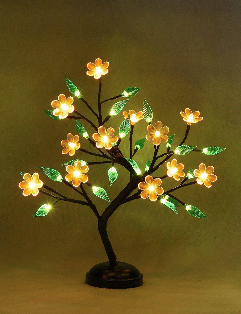 New Bonsai Light With Pink Flower Paper Flower Centerpieces Flowers Diwali Decoration Items