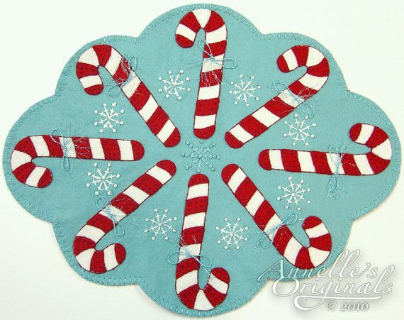 Christmas Winter Snowflakes Candy Canes Penny Rug Wool Applique PATTERN & Wool Felt KIT Holiday Needlecraft Primitive Turquoise