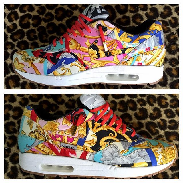 on sale 2ced1 72aa1 Versace Air Max 1 Shoe. Made by Etai LA out of a pair of vintage Women s  Versace Pants.and a pair of Nike Air Max 1 s.