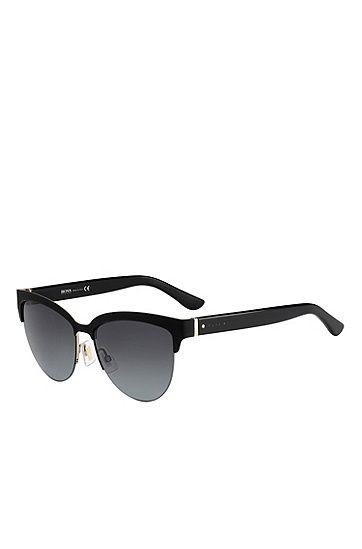 215c95a969 Black Lenses Half-Frame Cateye Sunglasses   BOSS 678S   Accessories ...