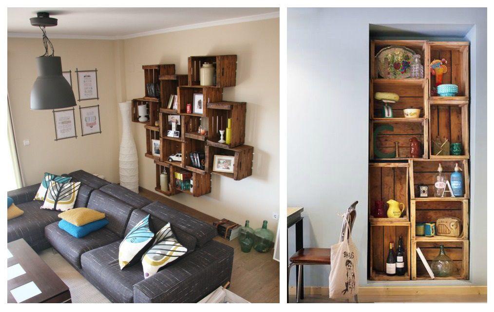 Closet con cajas de madera buscar con google cajones de fruta - Estanterias con cajas de fruta ...
