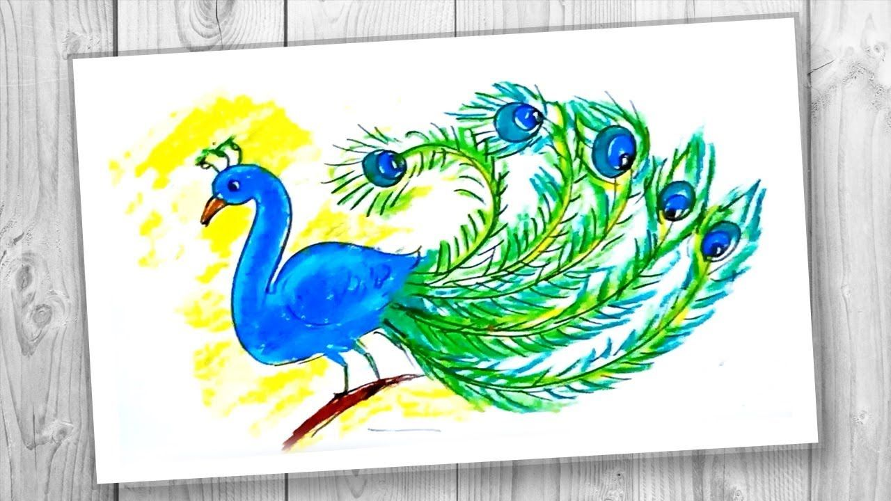 Easy Peacock For Kids How To Coloring A Peacock With Oil Pastel Step Oil Pastel Peacock Drawing Images Peacock Drawing With Colour