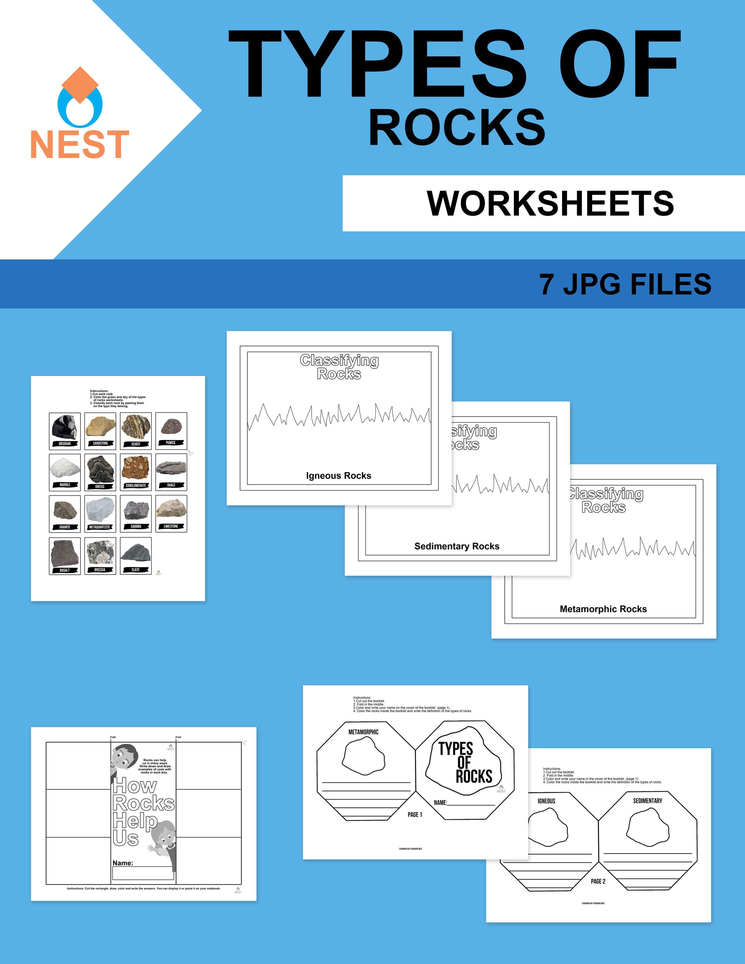 Types of Rocks Worksheets in 2020   Elementary lesson [ 3300 x 2550 Pixel ]