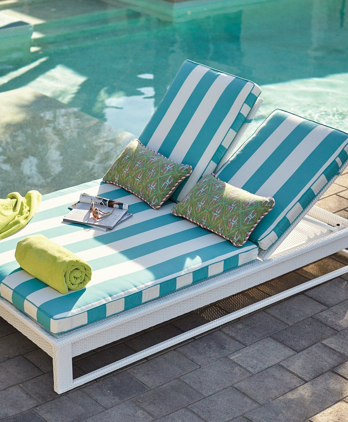 palermo double chaise lounge with cushions in white finish splash rh pinterest com
