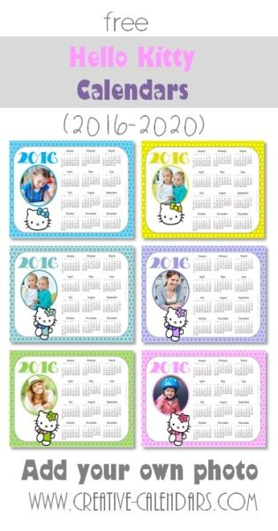 photo calendar 2016 with Hello Kitty printable hello kitty - how to create your own calendar