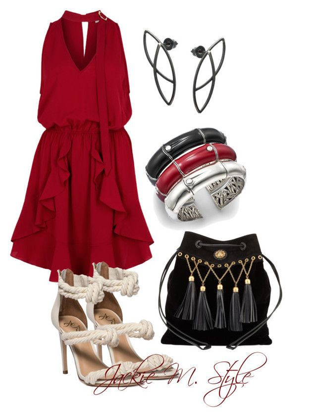 """""""Lady in Red"""" by jackie-mallet ❤ liked on Polyvore featuring Finders Keepers, John Hardy and Miu Miu"""