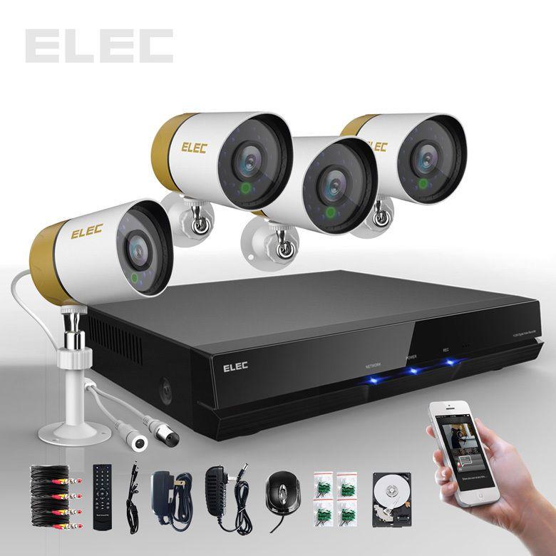 Elec 4 Ch Channel 960h Hdmi Dvr 700tvl Outdoor Cctv Security Camera System 500g Security Camera System Home Security Systems Best Security Cameras