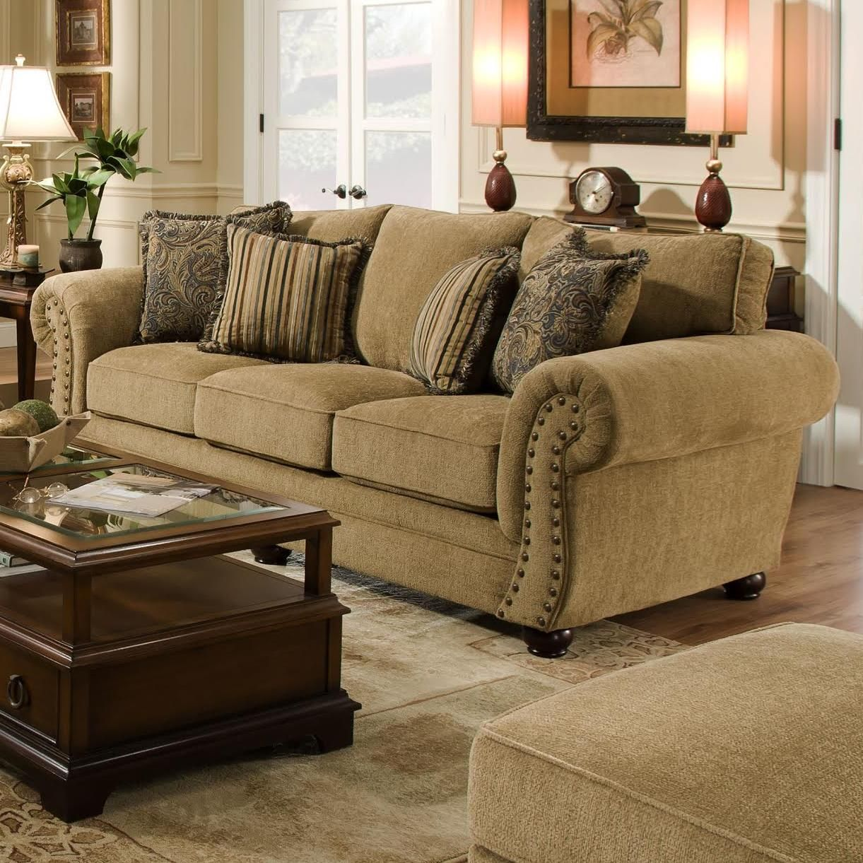 Traditional Sofas Living Room Furniture: 4277 Traditional Sofa With Rolled Arms And Nailhead Trim