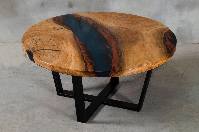 Custom Resin Table Made Of Oak Dark Blue Uv Resin Wooden Live Edge Coffee Table Round Coffee Table With Stee Resin Table Coffee Table Wood Elegant Furniture [ 1987 x 3000 Pixel ]
